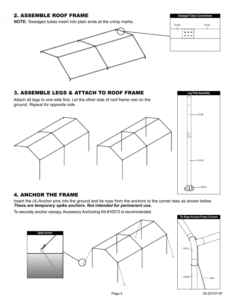 Assemble Roof Frame, Assemble Legs & Attach To Roof Frame ..