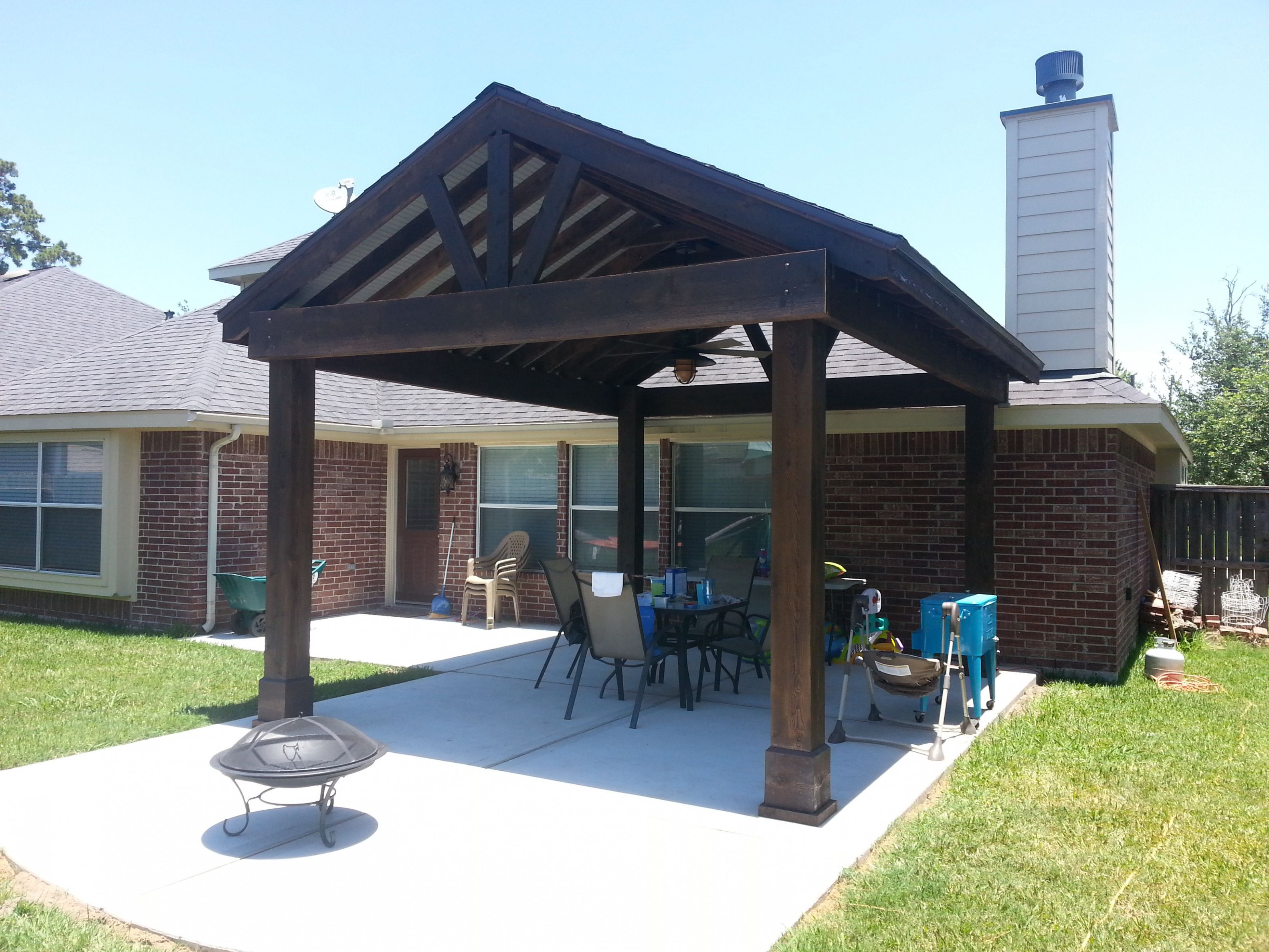 Beautiful Free Standing Stained Wood Gable Patio Cover ..