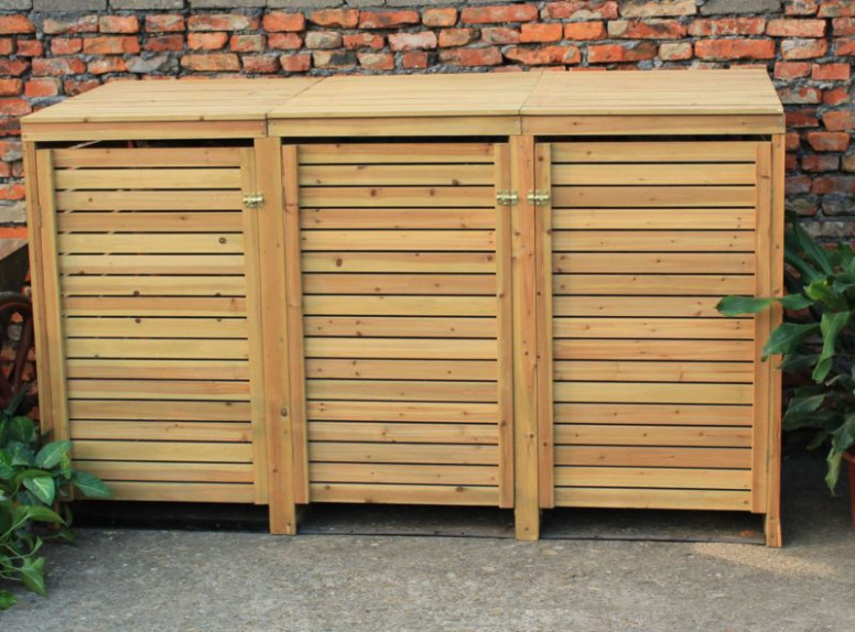 Bentley Garden Wooden Outdoor Wheelie Bin Storage Shed ..