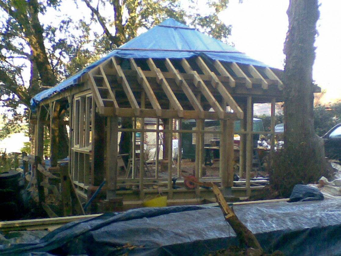 Bespoke Oak Framed Carport, Extension And Raised Decking » WSCB Wooden Carport Sussex