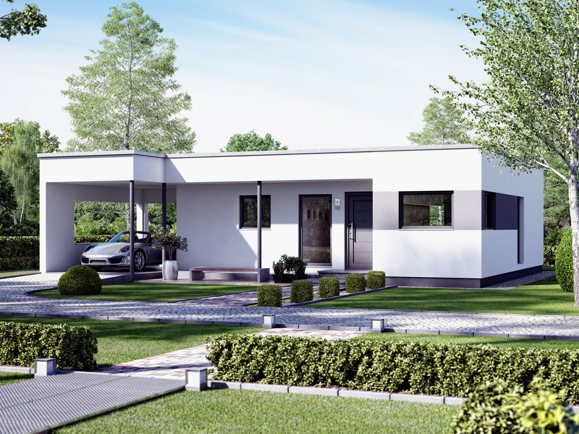 Bungalow Prefab SOLUTION 13 V13 With Flat Roof Living Haus ..