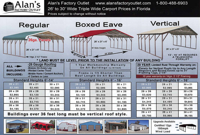 Buy Carports In Florida And Save Alan's Factory Outlet Carports Instead Of Garage