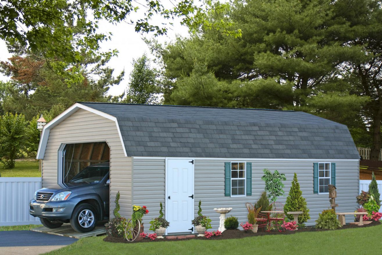 Buy Economy Single Car Garages In Wood Or Vinyl   See Prices One Car Garage With Carports