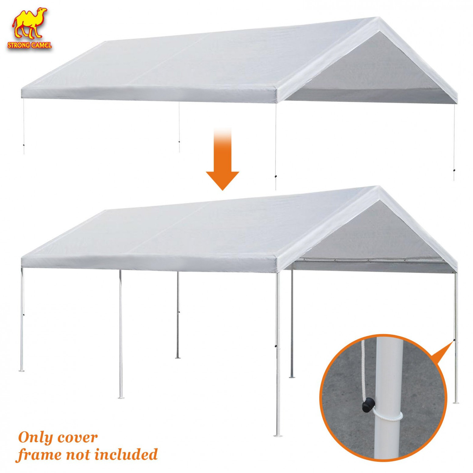 Buy Strong Camel 7x7 Carport Replacement Canopy Cover For ..
