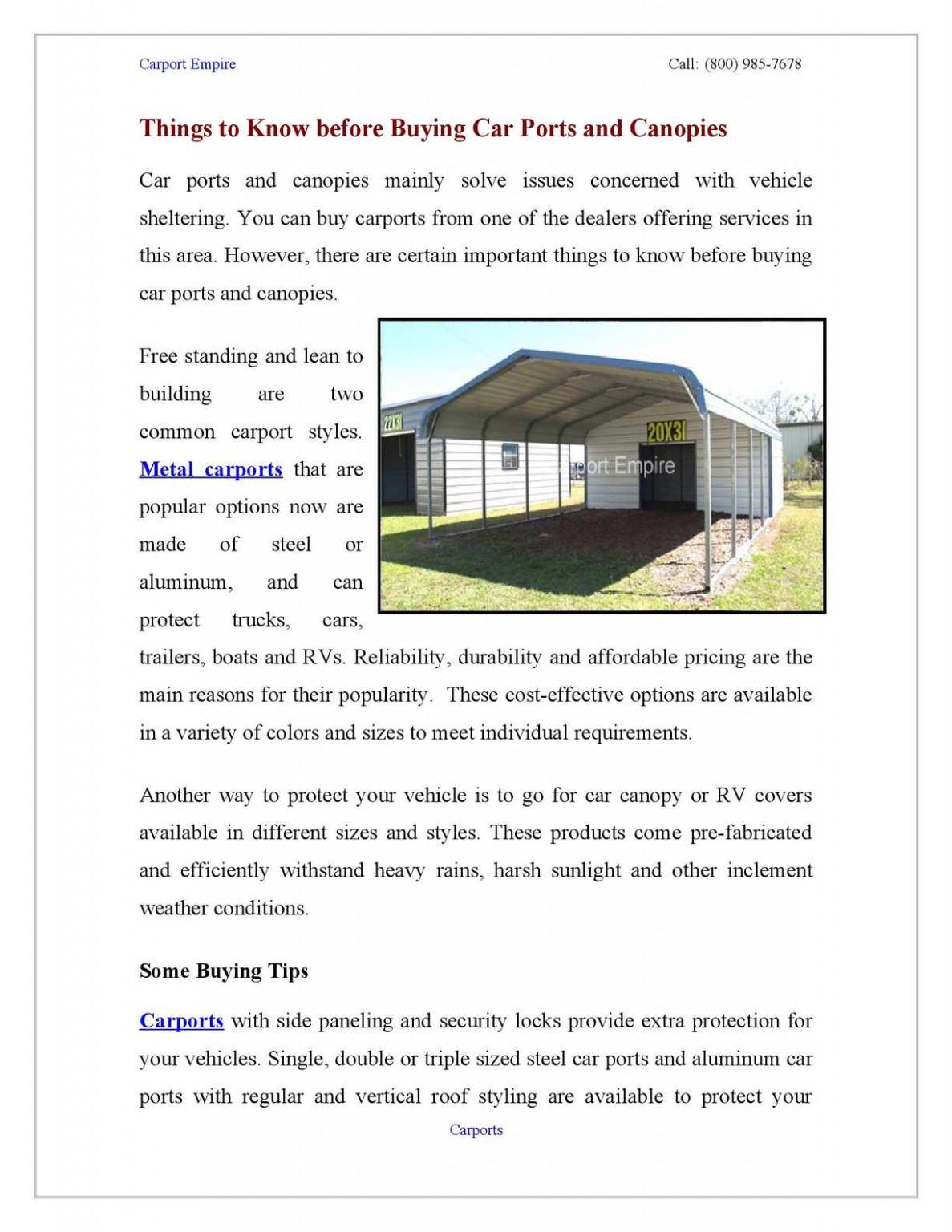 Calaméo Things To Know Before Buying Car Ports And Canopies Carport Canopy Sizes