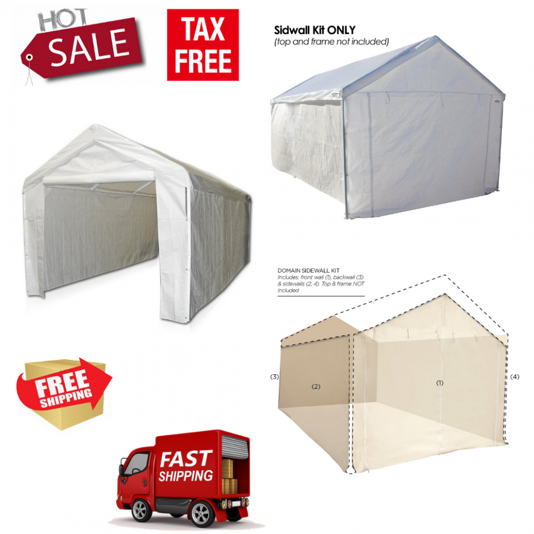 Canopy Garage Side Wall Kit 12x12 Car Shelter Big Tent Parking Carport Portable Carport Parking Kits