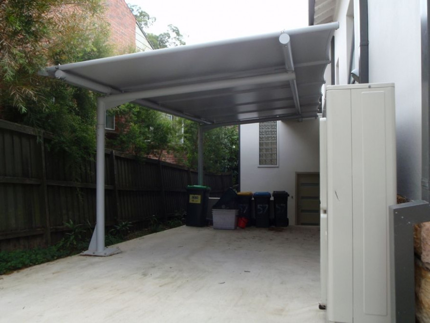 Cantilevered Carport Awning, With Poles Only One Side ..