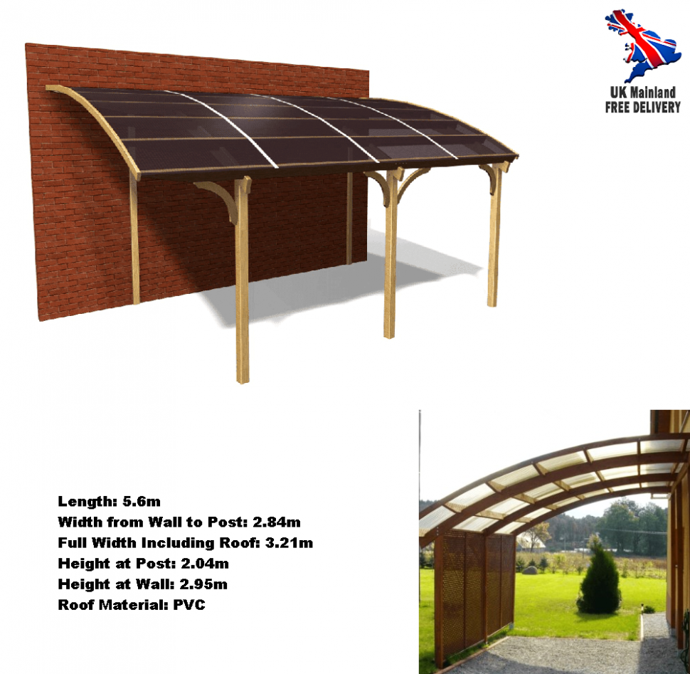 Car Shelter Lean To Carport Outdoor Shed Wall Mount Garage Canopy Curved Wooden Wooden Carport With Shed