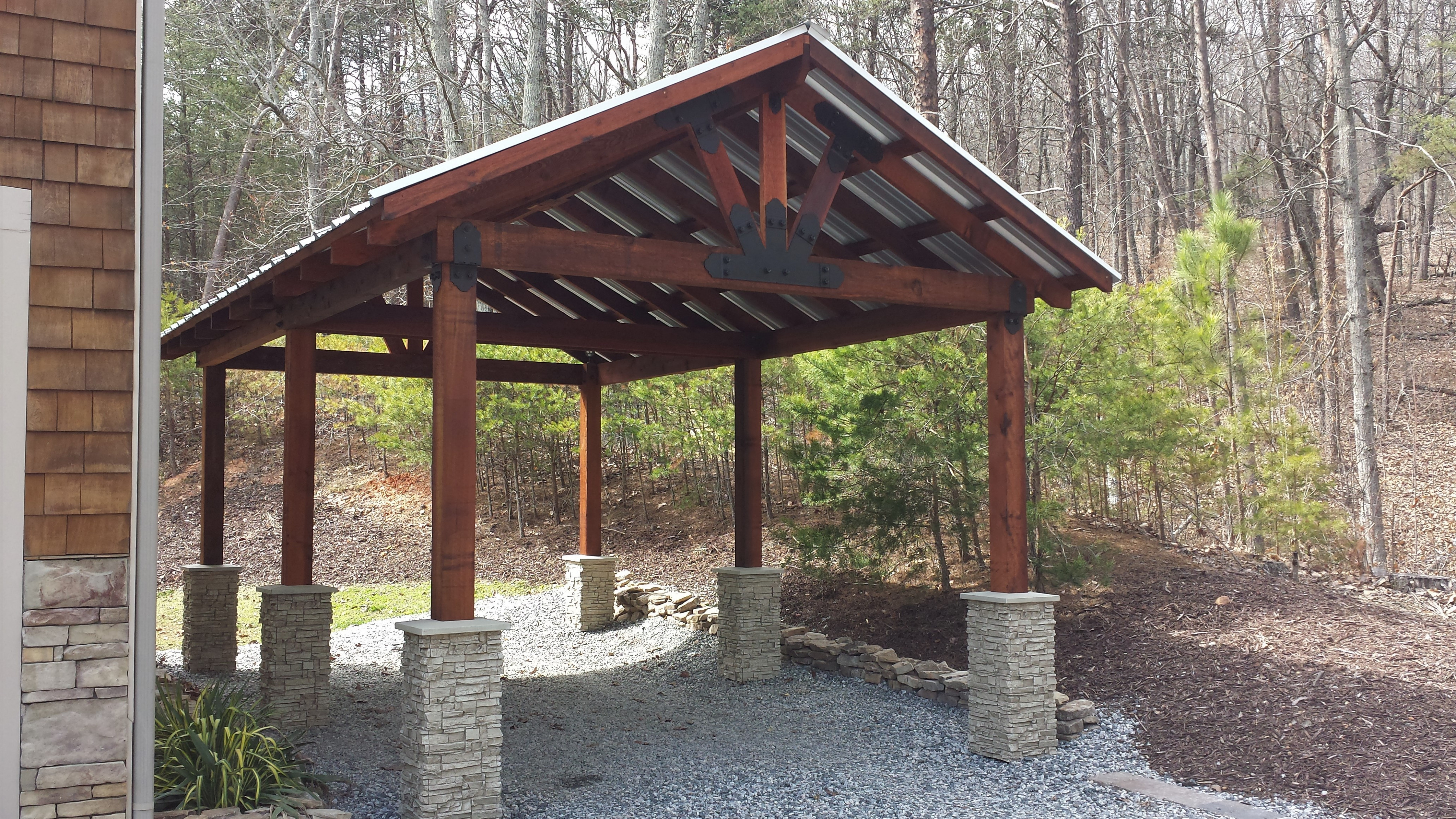 Carport Design With 'Stone' Column Bases | Creative Faux Panels Designs For Wooden Carports