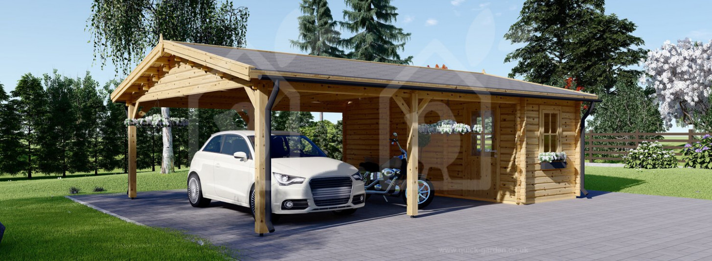 Carport Double With Shed 13×13 Wood Free Delivery US Wooden Carports Suppliers