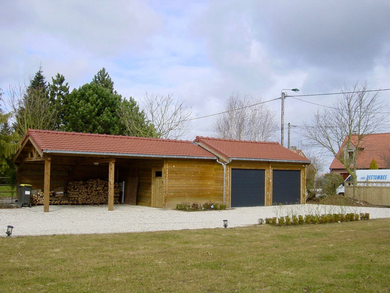 Carport Et Garage Double 10 Pentes En Sapin Rouge Pas Cher Double Garage Carports