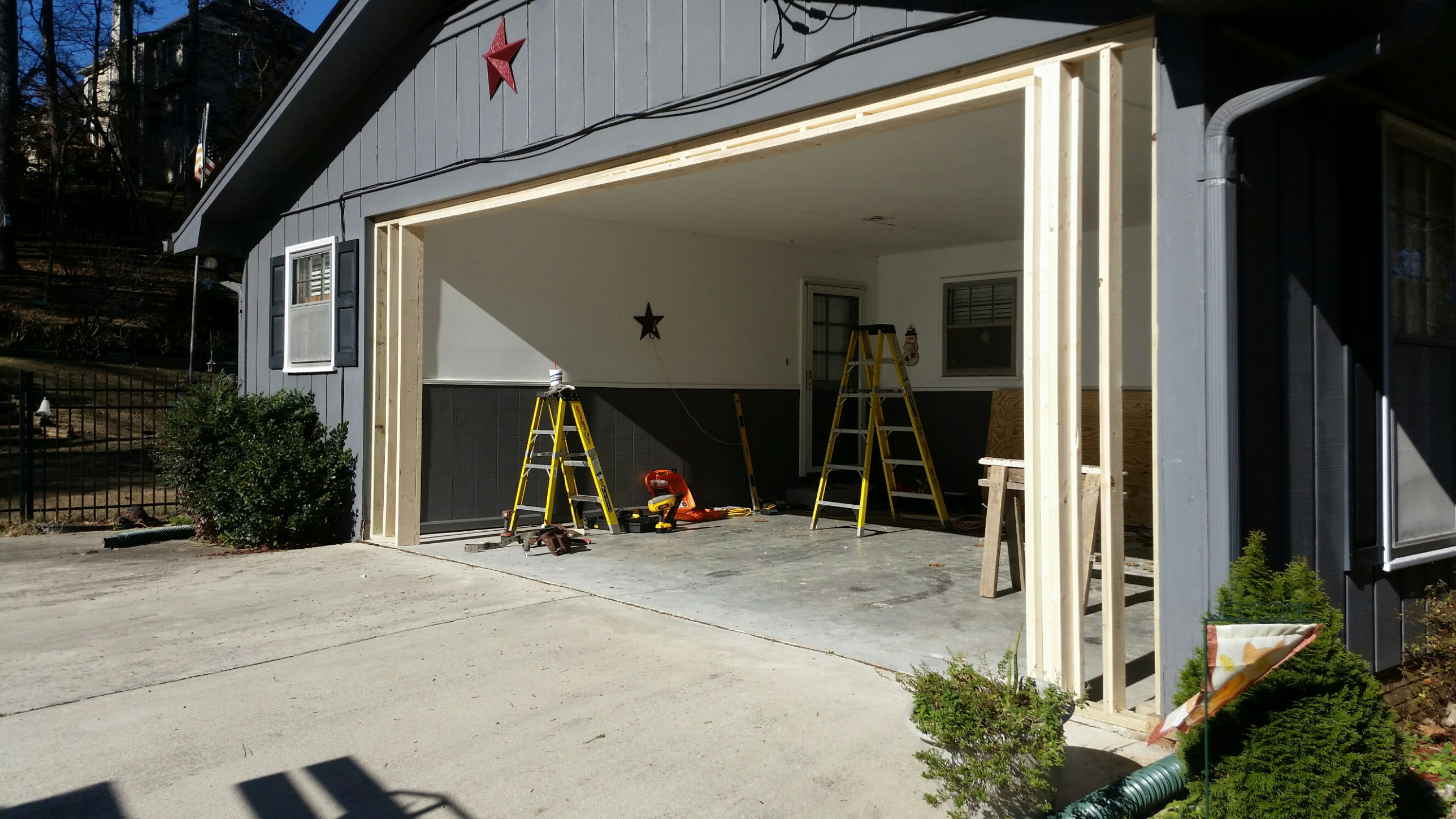 Carport Garage Conversion | Overhead Door Company Metal Carport In Front Of Garage