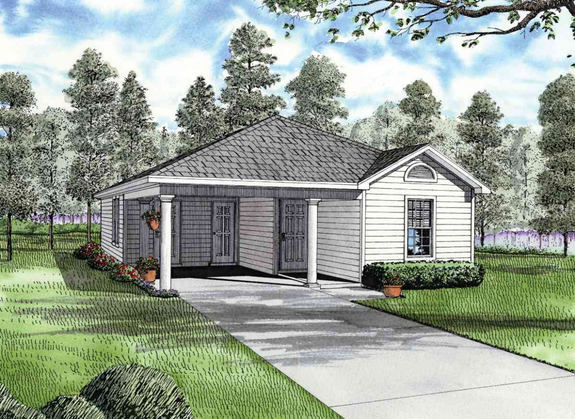Carport Starter Home Plan 59779ND | Architectural ..