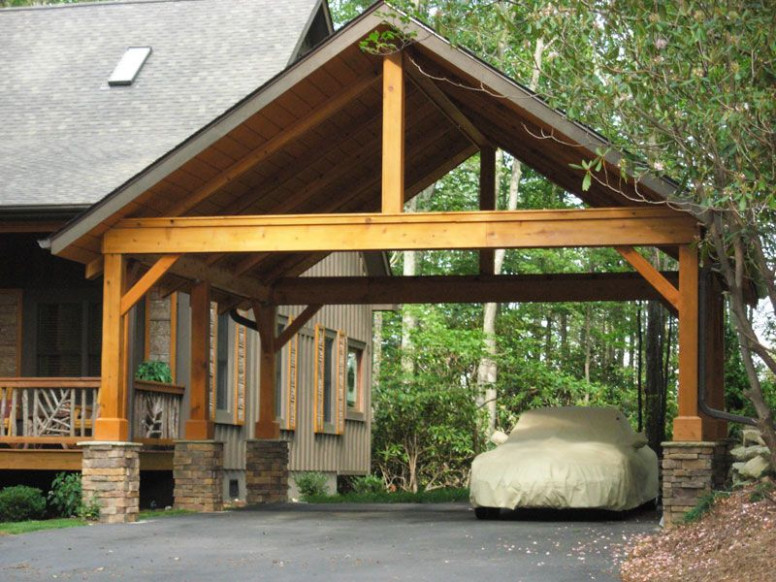 Carport With Pitch Roof, Open Gable Timber Frame, Half ..