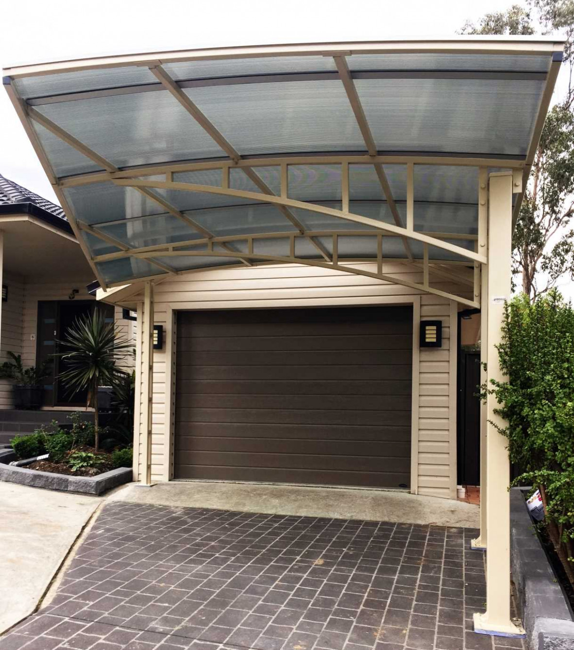 Carports & Shelters In Sydney | Pioneer Shade Structures Carport In Front Of Garage