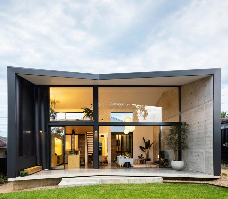 Cement, Metal Wrapped Modern Home Extension Design In Sydney, AU Modern Carports Sydney