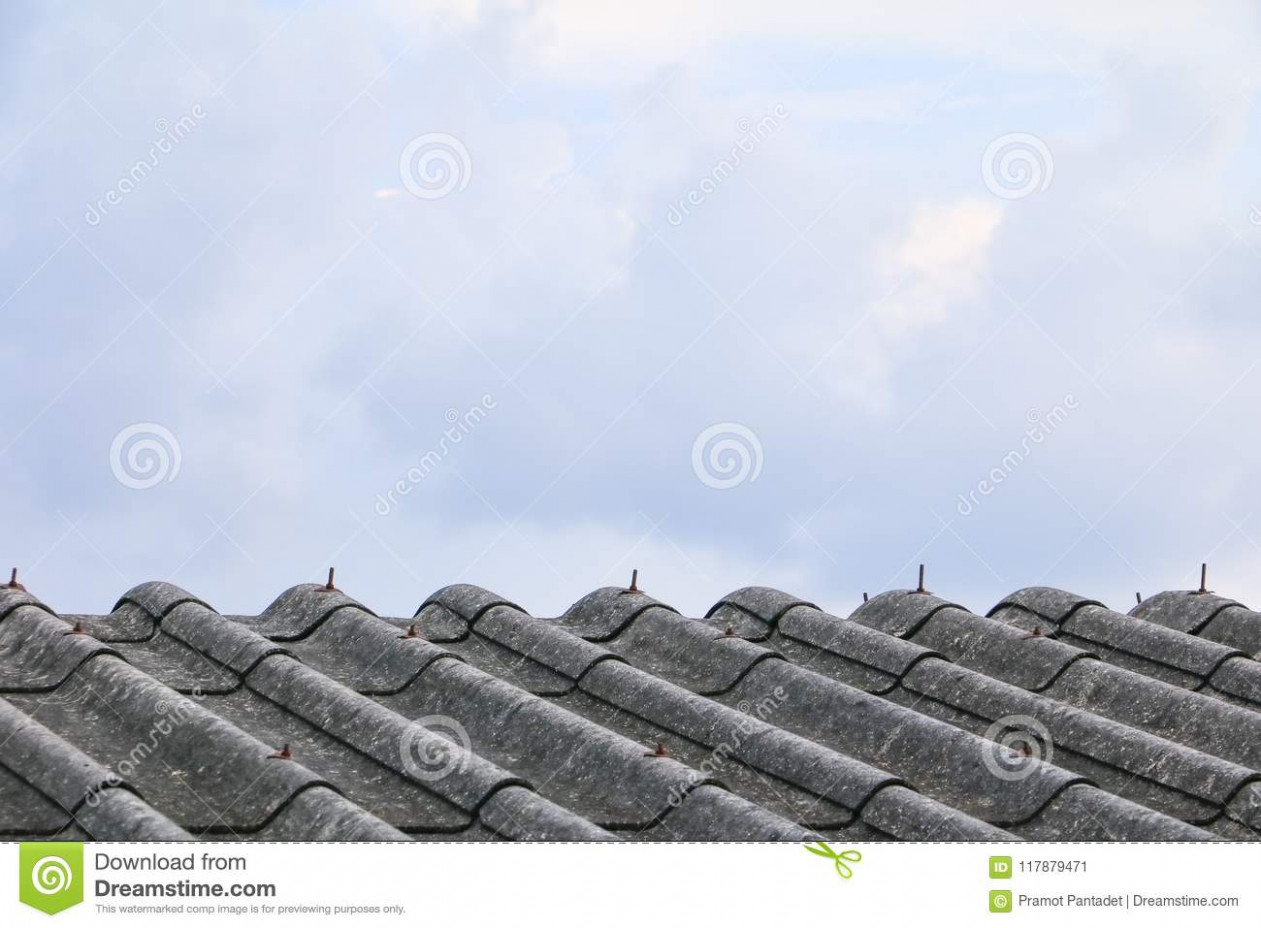 Cement Roof Tiles Old With Sky Background And Copy Space ..