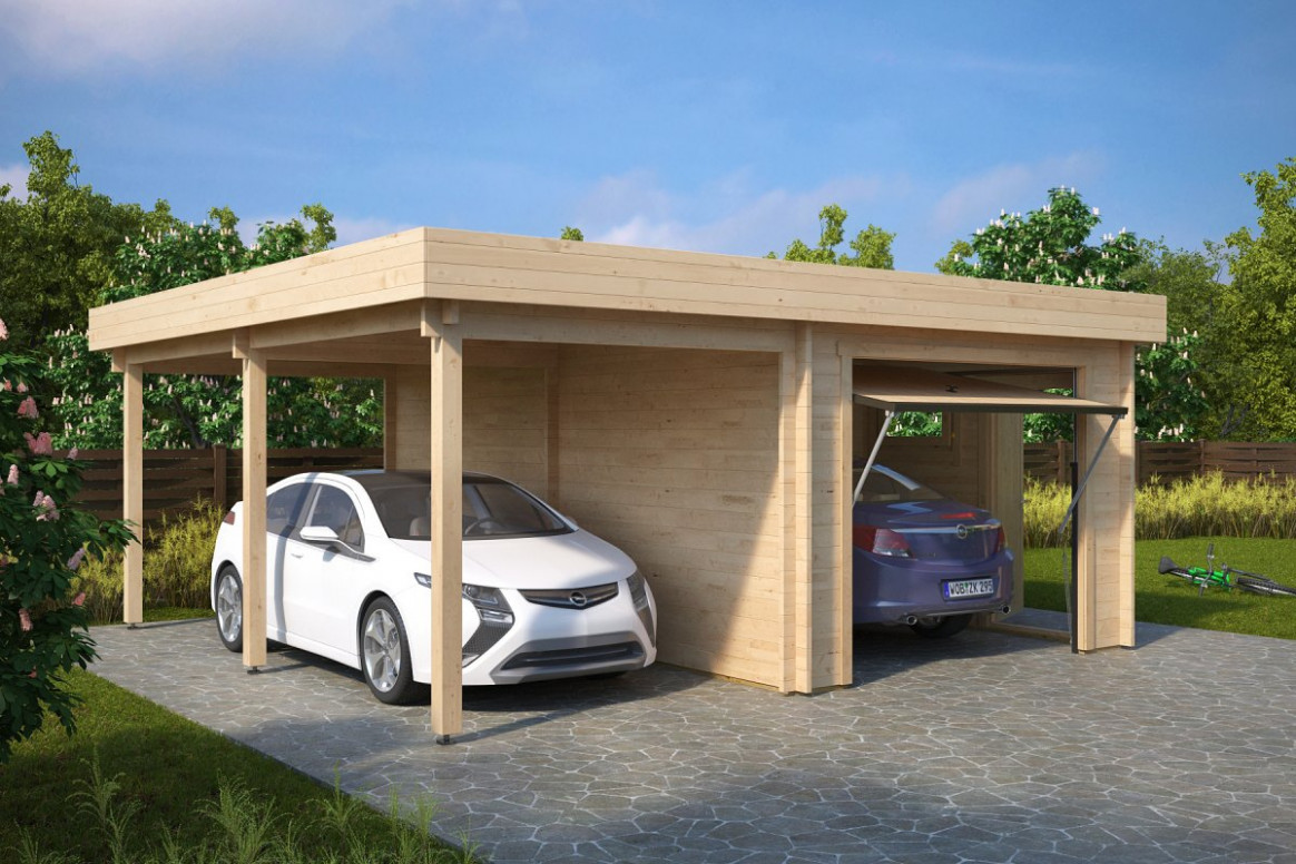 Combined Garage And Carport With Up And Over Doors Type H / 12mm Carport And Garage Combo