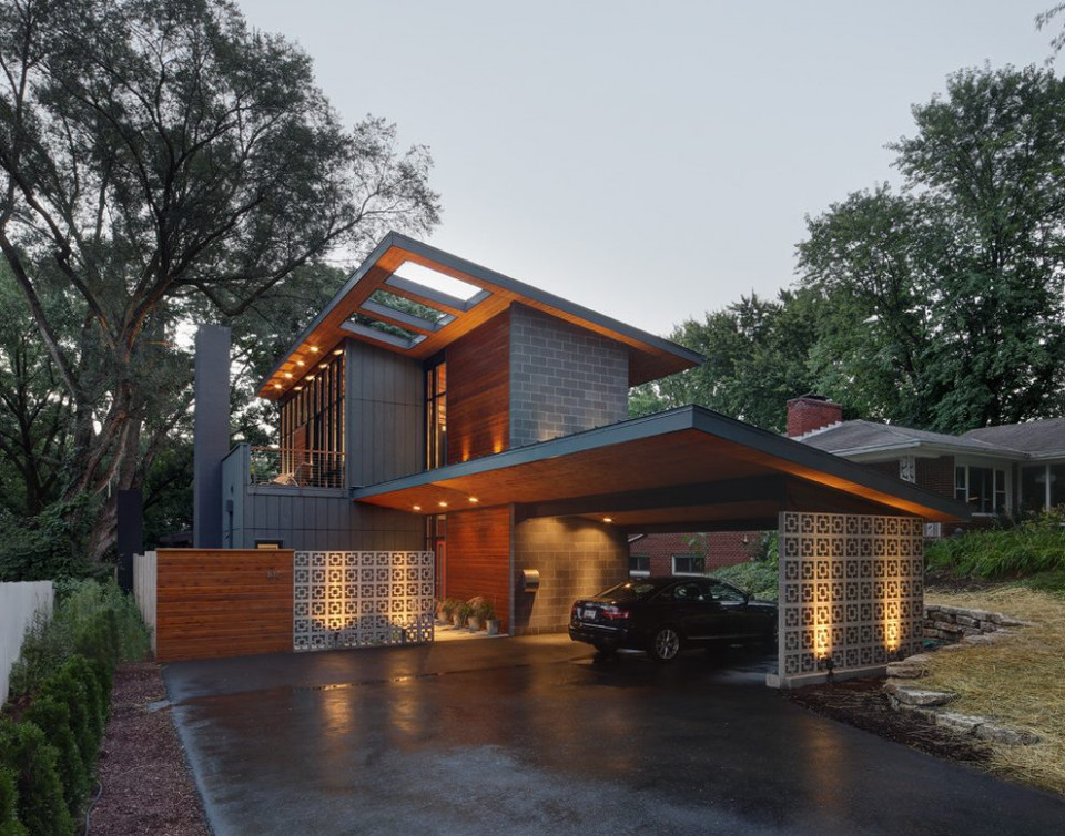 concrete masonry block exterior midcentury with outdoor ...