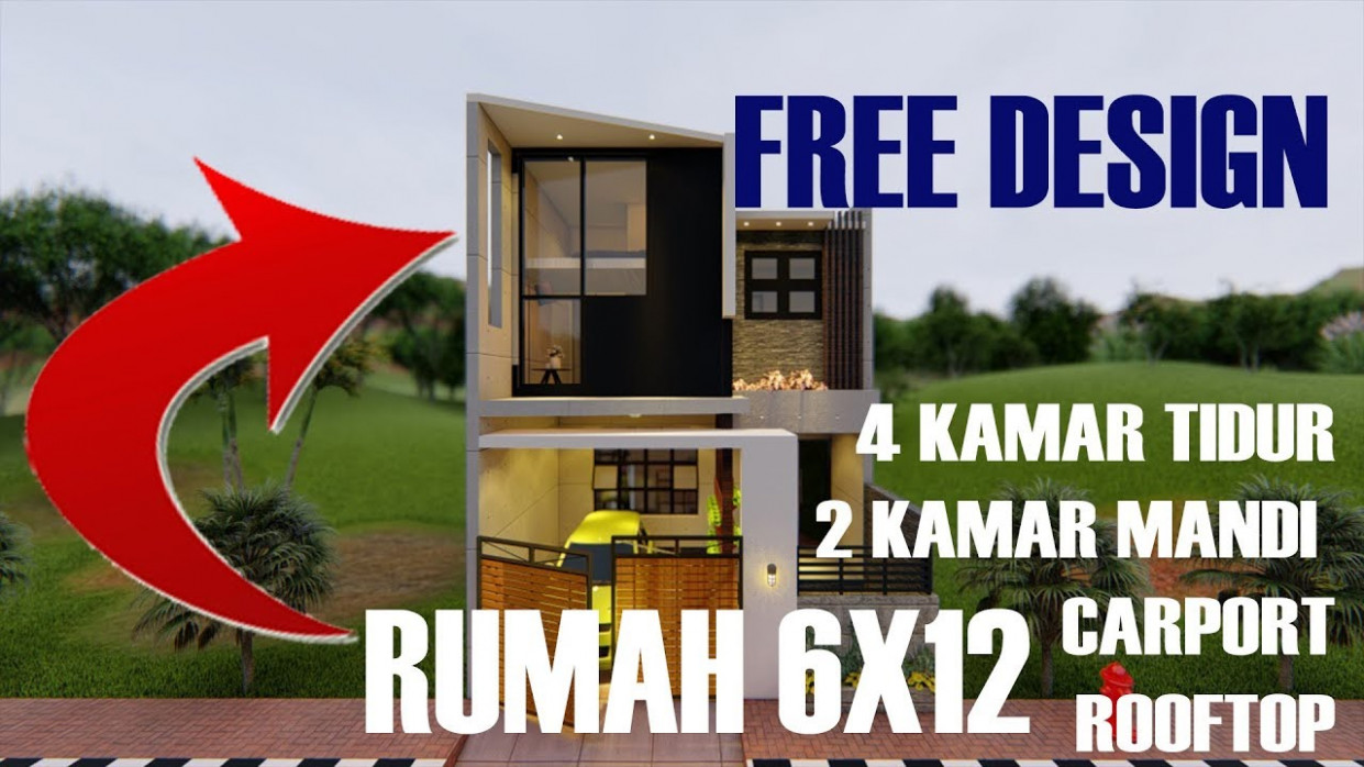 Design Rumah Modern 7x7 Split Level Dengan RoofTop [7] Carports Arsitag Day