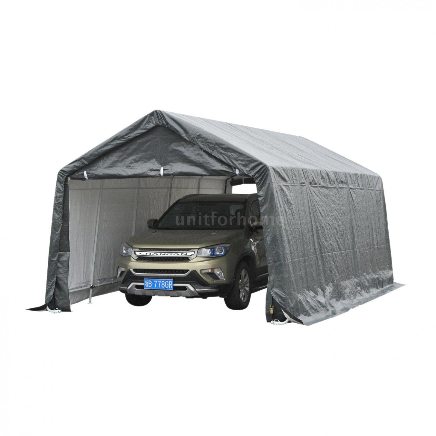 Details About 8' X 8' Heavy Duty Enclosed Vehicle Shelter Carport Grey T8O8 Enclosed Carport Canopy