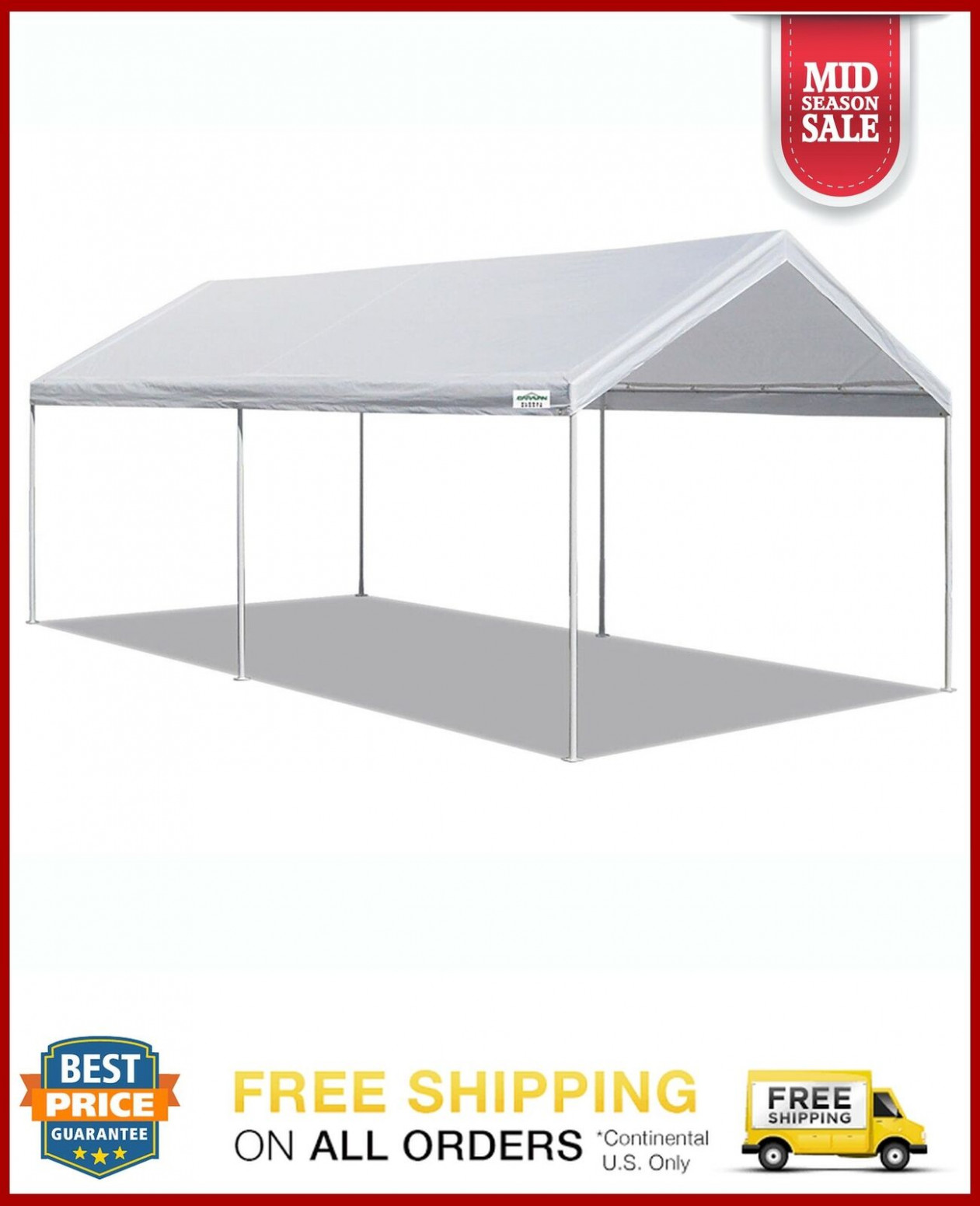 Details About White Heavy Duty Canopy Tent 9x9 FT Steel Carport Portable Car Shelter 9 Legs Prices For Canopy Carports