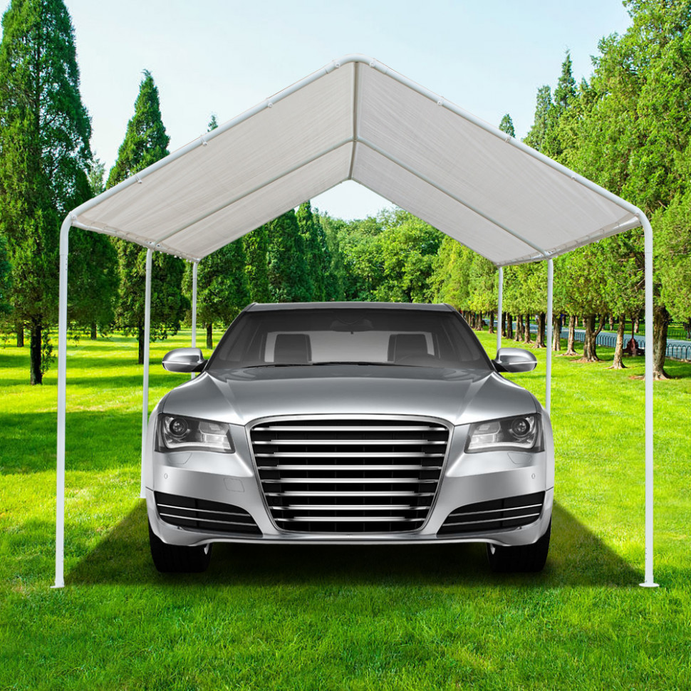 Details About White Heavy Duty Garage Canopy Tent 12x12 FT Steel Carport Portable Car Shelter Executive Carport Valet Parking