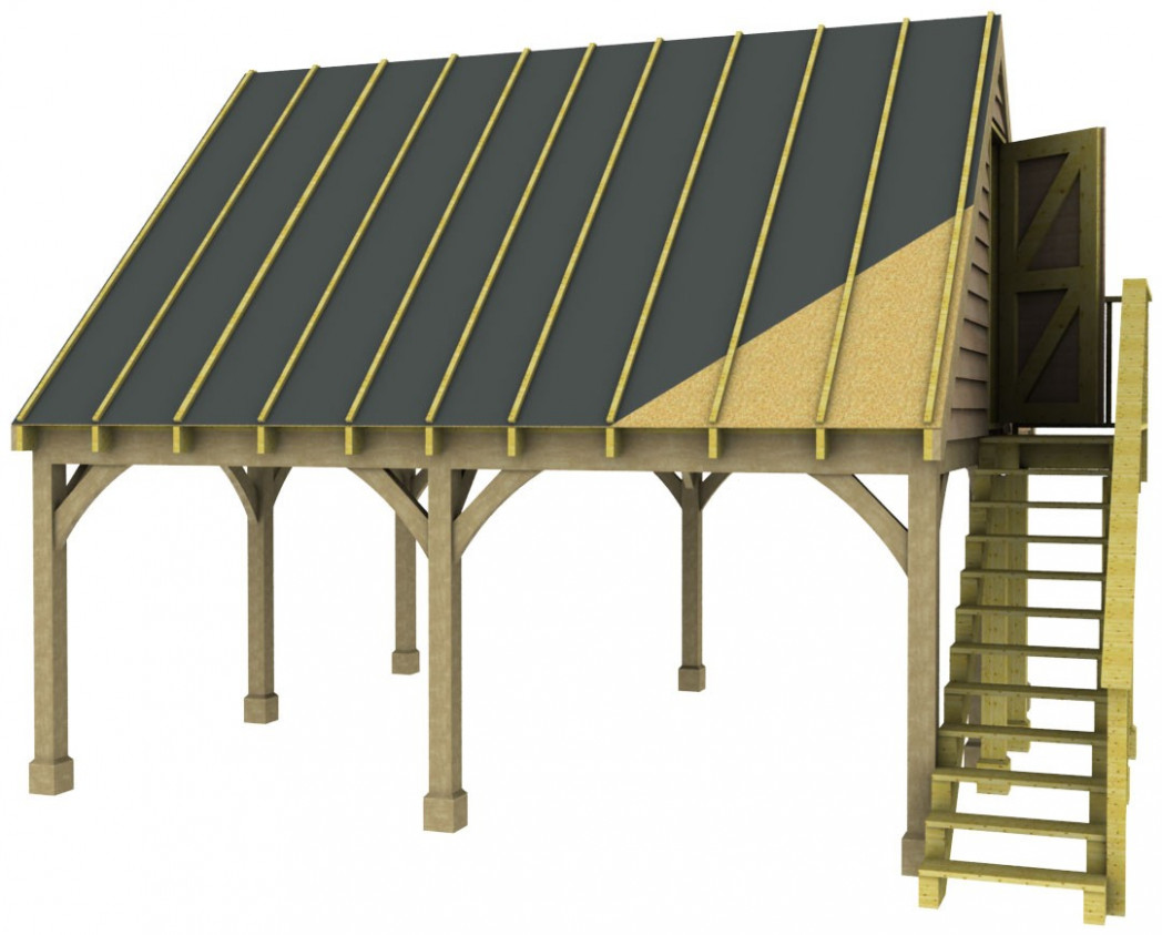 Double Carport Room in Roof Kit 45 Gable Traditional Style ...
