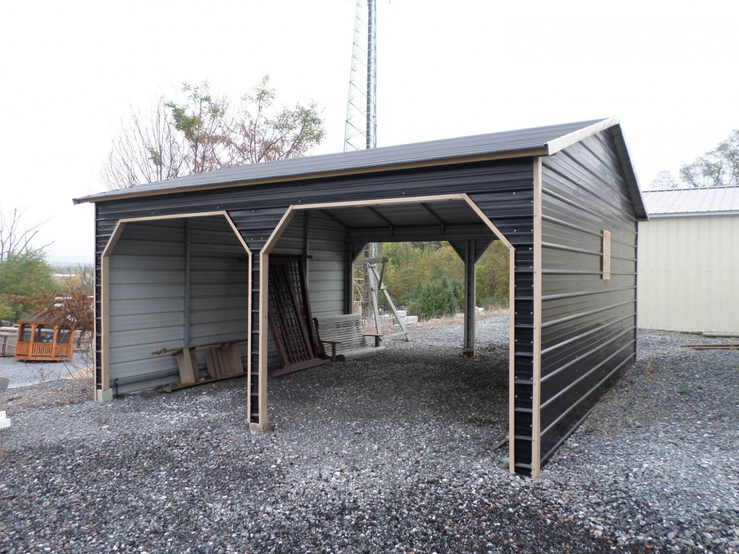 Double Carports Size, Style & Prices | Bargain Barns USA 2 Car Garage With Rv Carport
