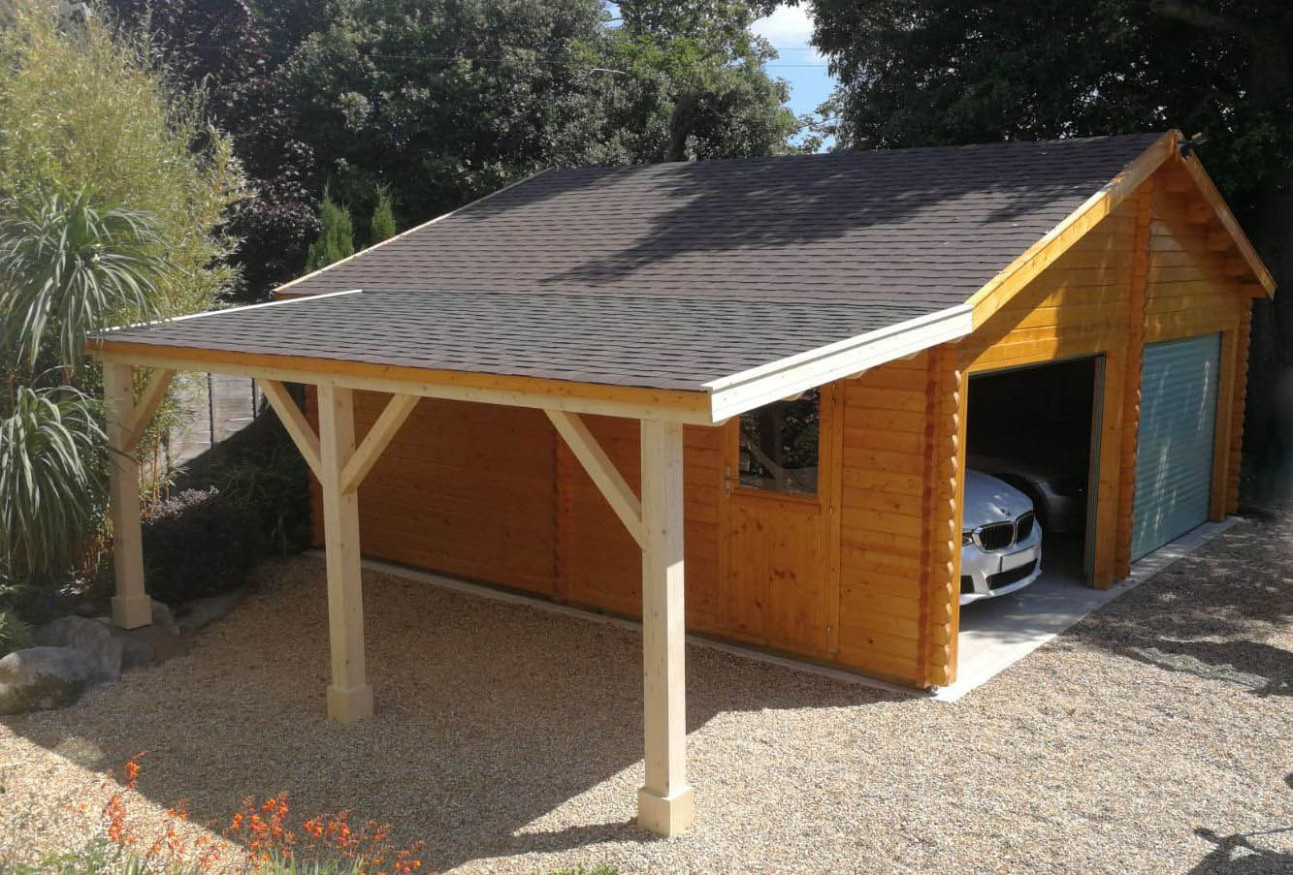 Double garage with carport extension - Keops Interlock Log ...
