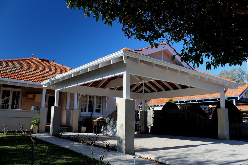 Double Timber Carport With Tiled Dutch Gable Roof | Blue ..