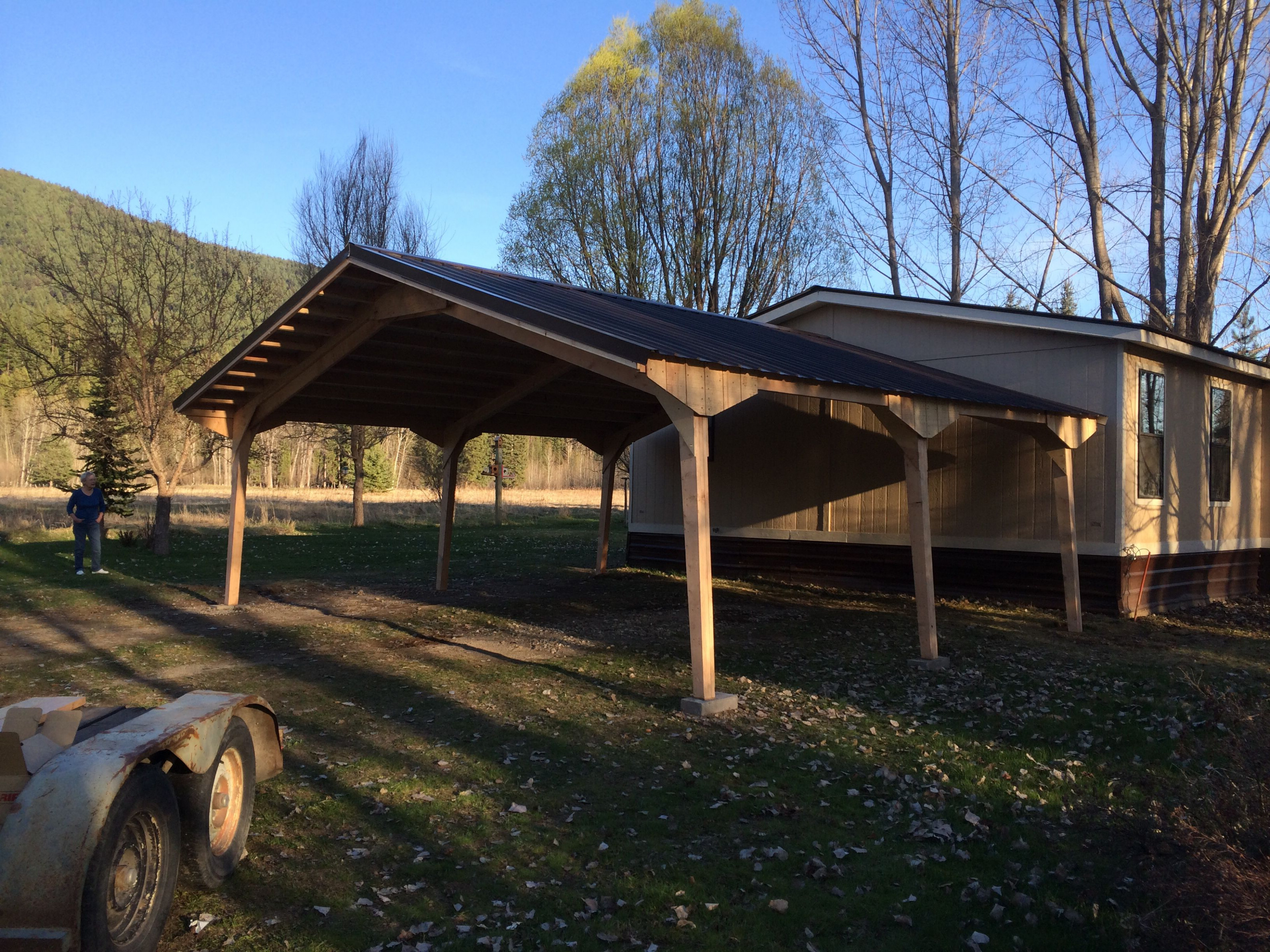 Easy one day install. Double car carport in Libby, MT. Pre ...