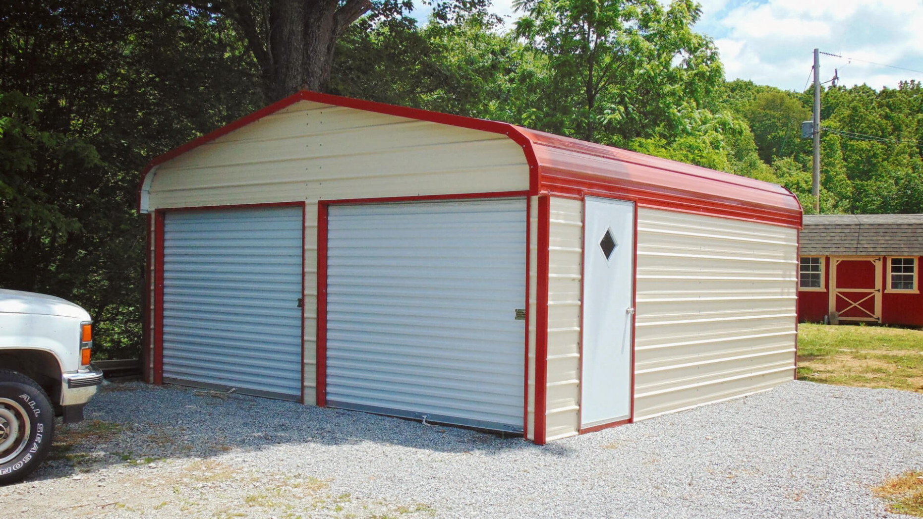 Enclosed Metal Garage, Enclosed Garage Buildings And Structures Carports In Front Of Garage