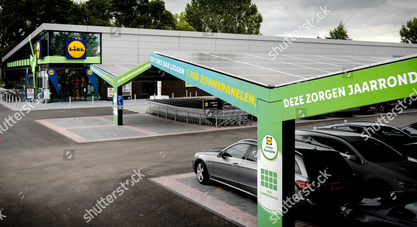exterior view showing carports Lidl Zero first Editorial ...