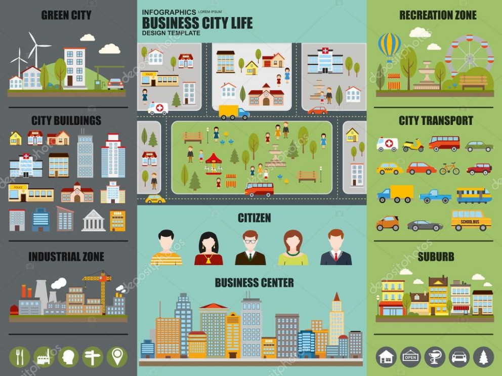 Flat Infographic City Life Vector Design. Can Be Used For ..