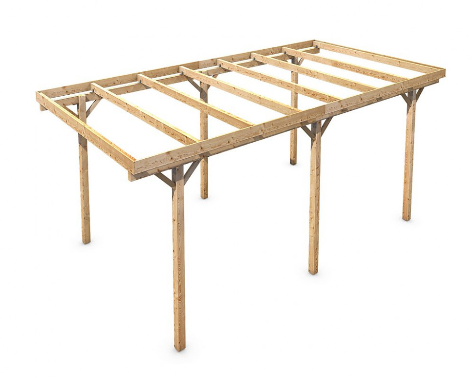 Freestanding Solid Wood Carport Flat Roof KVH 13x13mm ..