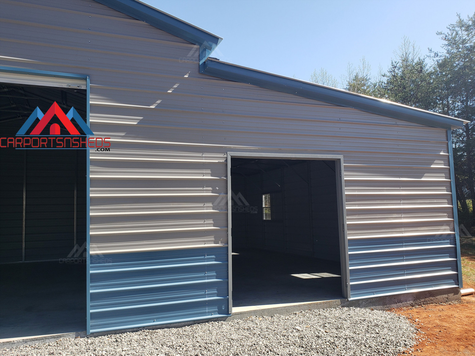 Front Right Side Of A 13x13 Metal Barn Metal Carport In Front Of Garage