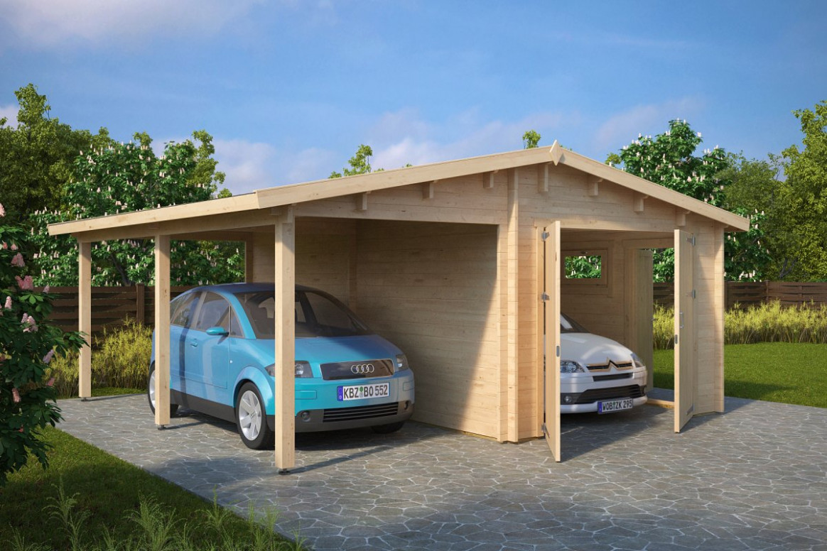 Garage And Carport Combination Type G / 9mm / 9 X 9 M Wooden Garage And Carport
