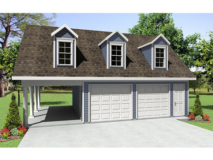 Garage Plans with Carport | 2-Car Garage Plan with Carport ...