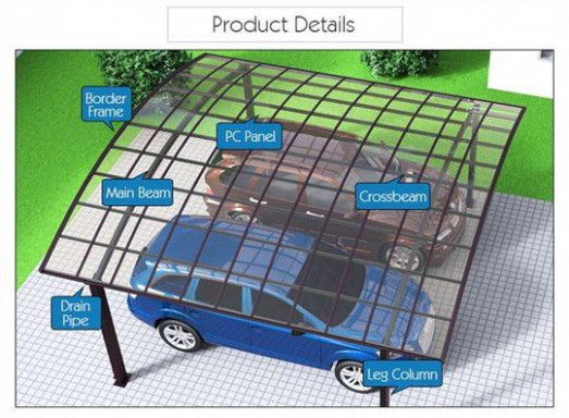 Garage Port For 2 Cars Sunshield Outdoor Polycarbonate ..