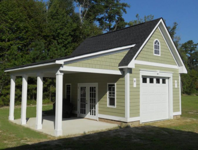 Garage With Porch | 18'x20' Garage With Hardi Plank Siding ..