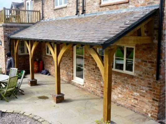 Green Oak Lean To Porch. Could Do This At Side Versus ..