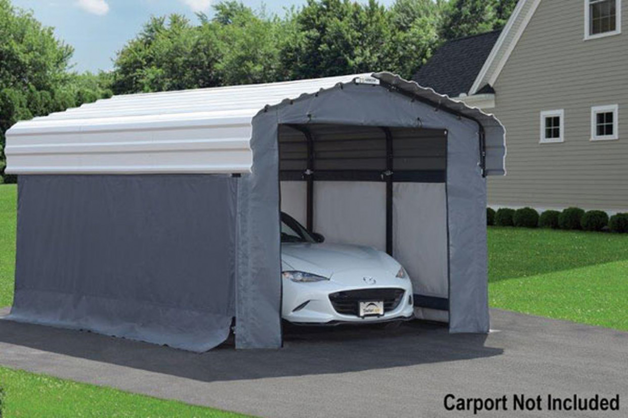 Grey Fabric Enclosure Kit For 11x11 Arrow Carport