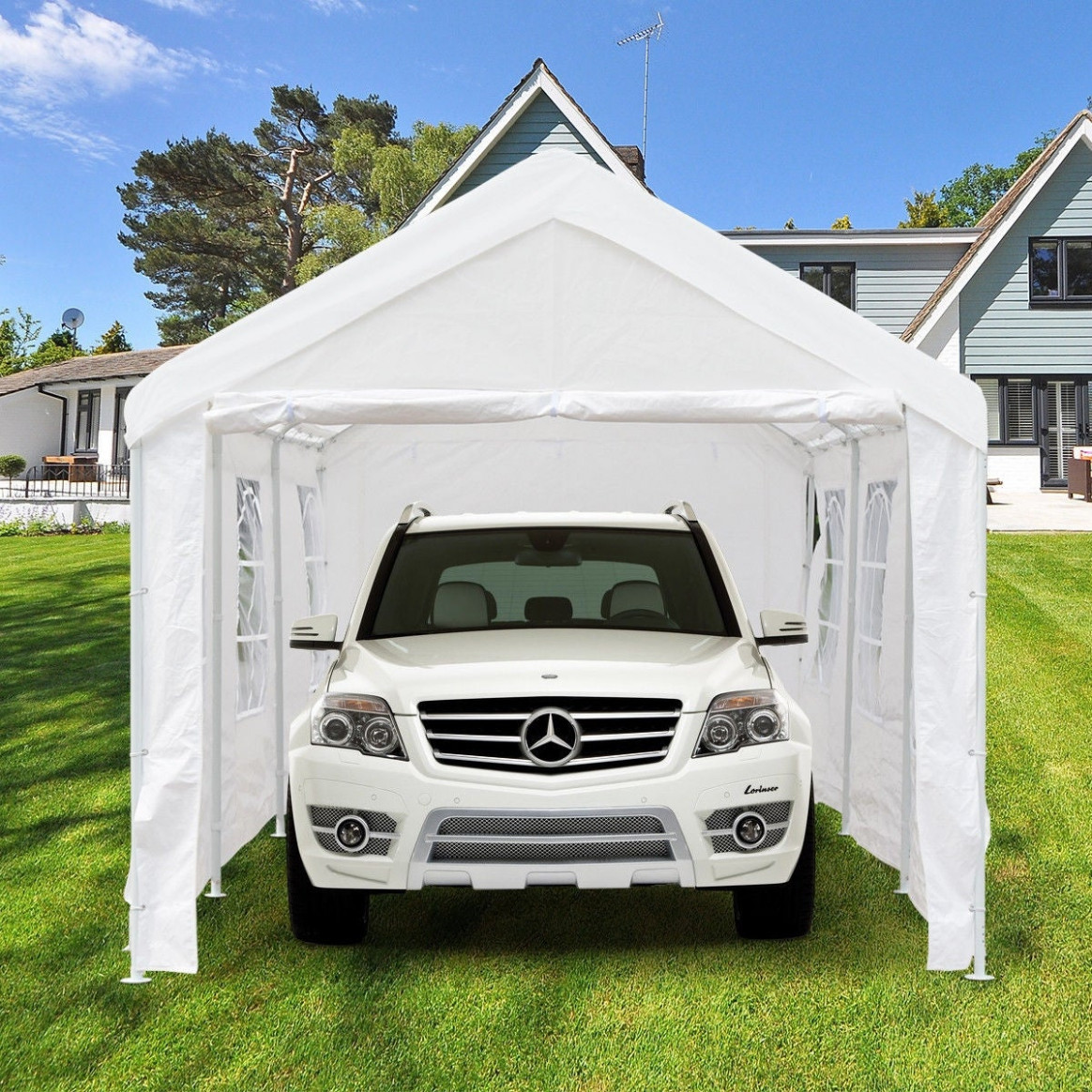 Gymax 8' X 8' Heavy Duty Party Wedding Tent Car Carport Canopy Garage Cover Shelter Carport Or Canopy