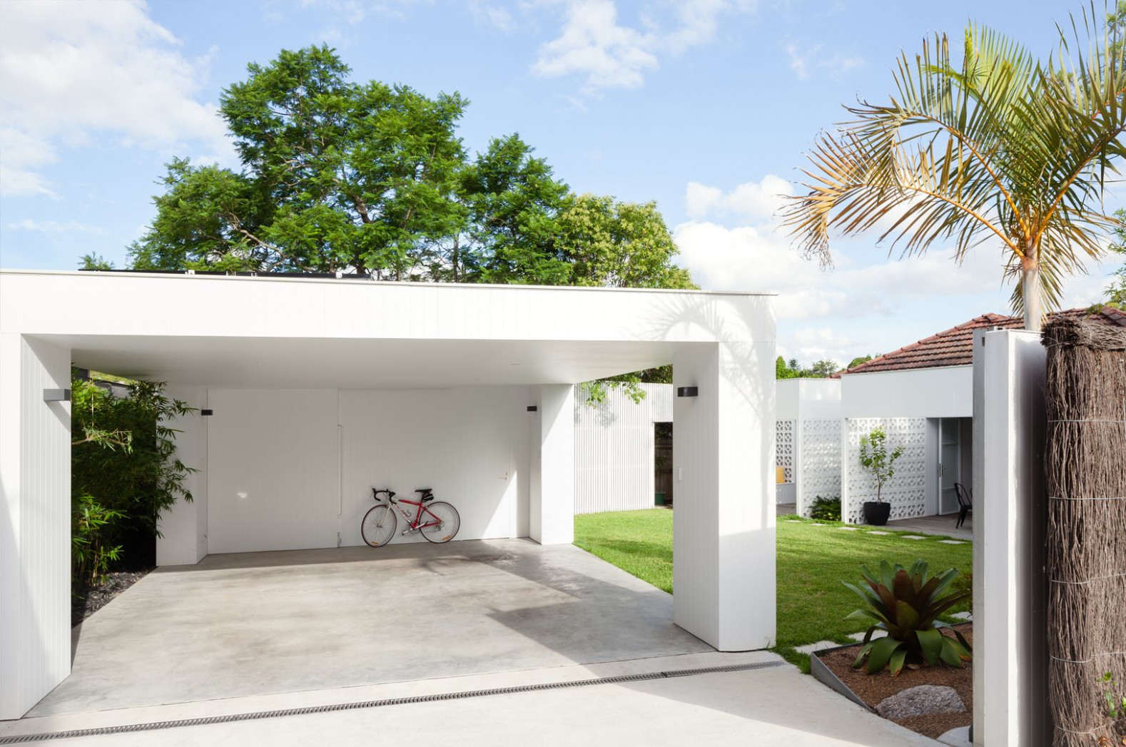 House. Breeze Block Simple Flat Roofed Carport | Covered ..