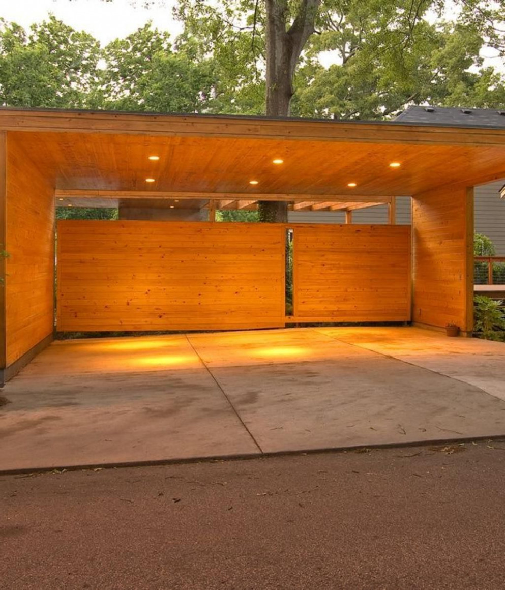 Impresive Design Carport Area With Wooden Design Material ...