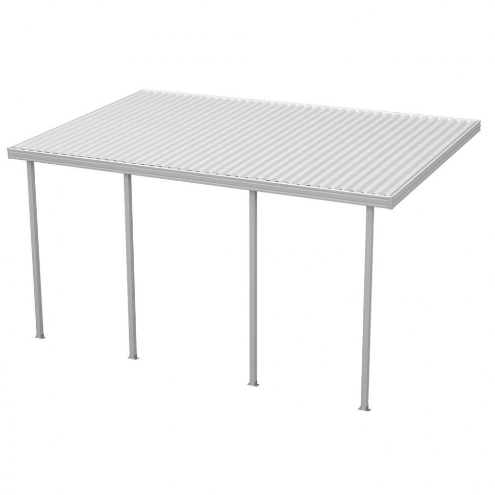 Integra 9 Ft. W X 9 Ft. D White Aluminum Attached Carport With 9 Posts (9 Lbs