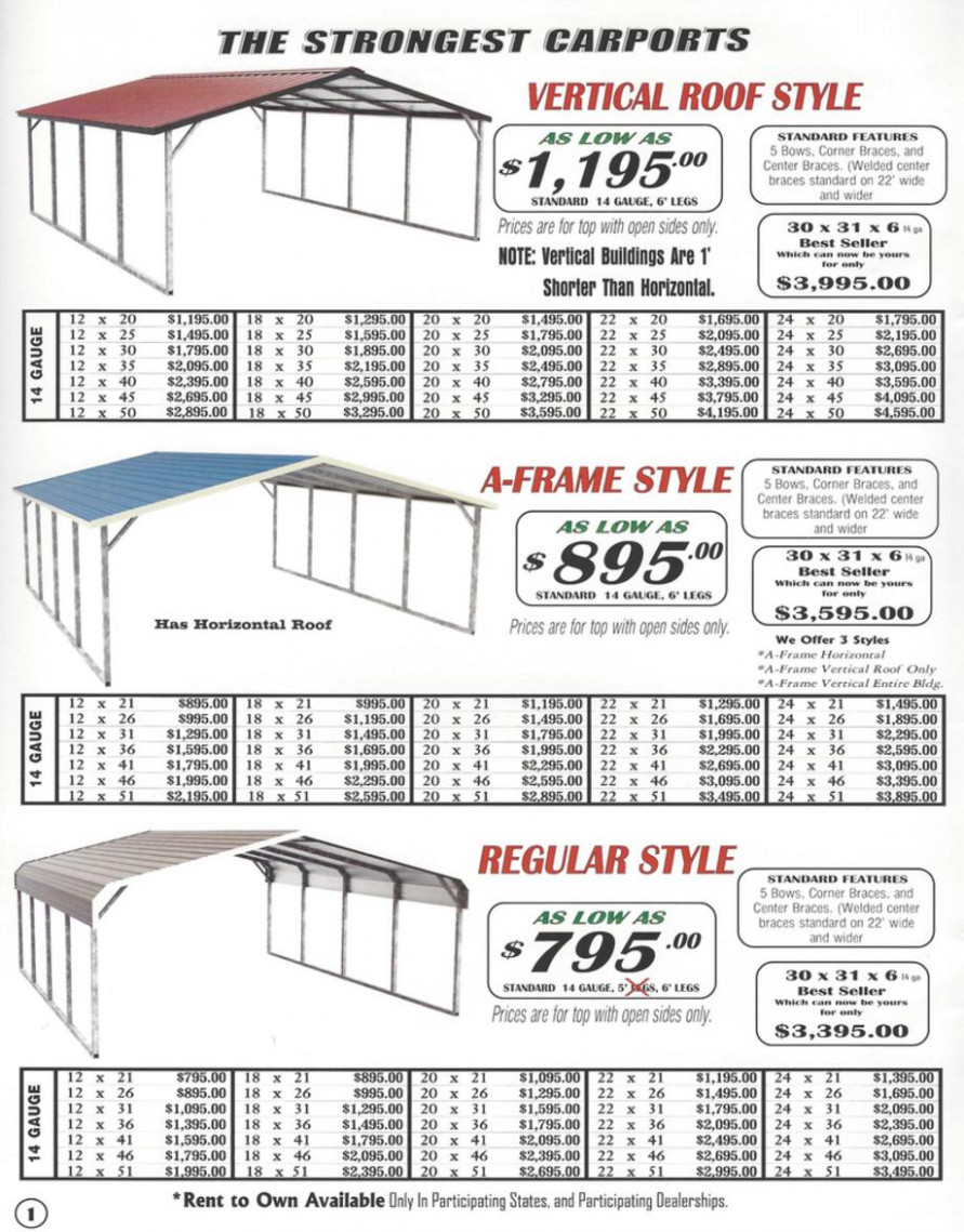 Lafayette Portable Buildings Carport And RV Cover Price List Carport Canopy Height