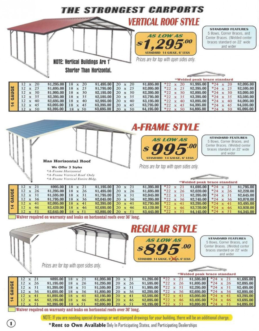 Lafayette Portable Buildings Carport And RV Cover Price ..