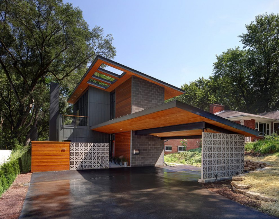 Log Carport Garage Contemporary With Shed Roof Stainless ..